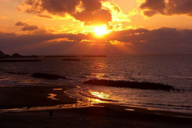 湯野浜温泉の夕日